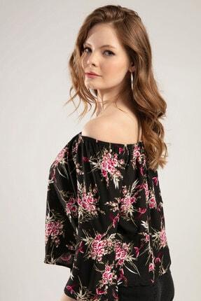 Y-London Kadın Siyah Çiçek Baskılı Straplez Bluz Y20S102-11169 1