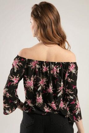Y-London Kadın Siyah Çiçek Baskılı Straplez Bluz Y20S102-11169 2