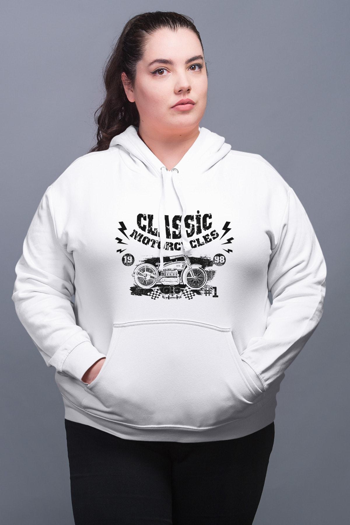 Wear Motorcycles Beyaz Kadın Kapüşonlu Sweatshirt