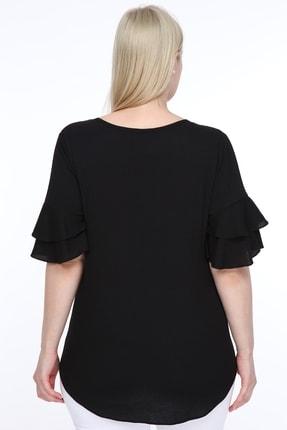 Lir Kadın Büyük Beden Volanlı Kol Bluz Siyah 2
