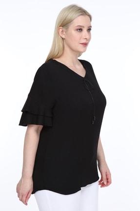 Lir Kadın Büyük Beden Volanlı Kol Bluz Siyah 4
