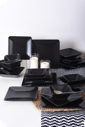 Keramika Siera Mat Siyah Kare Yemek Takımı 24 Parça 6 Kişilik 0