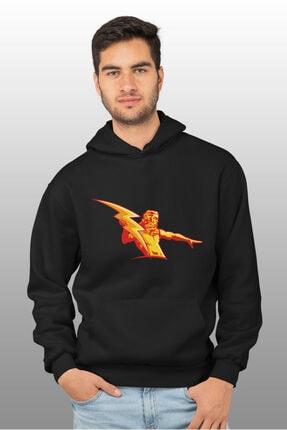 Angemiel Wear Şimşek Zeus Siyah Erkek Kapüşonlu Sweatshirt Çanta Kombin 1