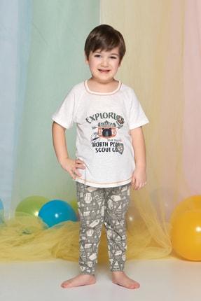 تصویر از Erkek Çocuk Açik Bej Melanj Pijama Takımı Kısa Kol