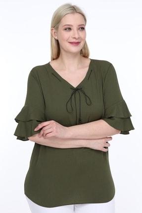 Lir Kadın Büyük Beden Volanlı Kol Bluz Haki 0