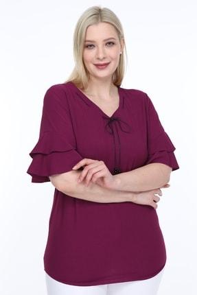 Lir Kadın Büyük Beden Volanlı Kol Bluz Mor 0