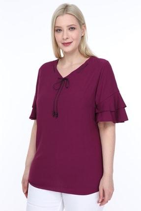 Lir Kadın Büyük Beden Volanlı Kol Bluz Mor 1