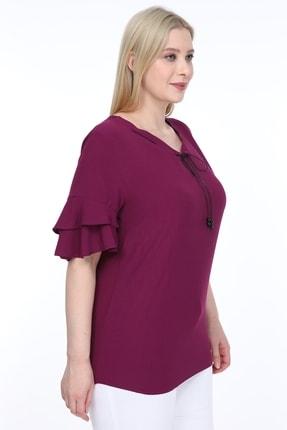 Lir Kadın Büyük Beden Volanlı Kol Bluz Mor 4