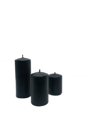 Royal Mum Silindir Mum Siyah Renk 3 Lü Set - Pudra Kokulu 2