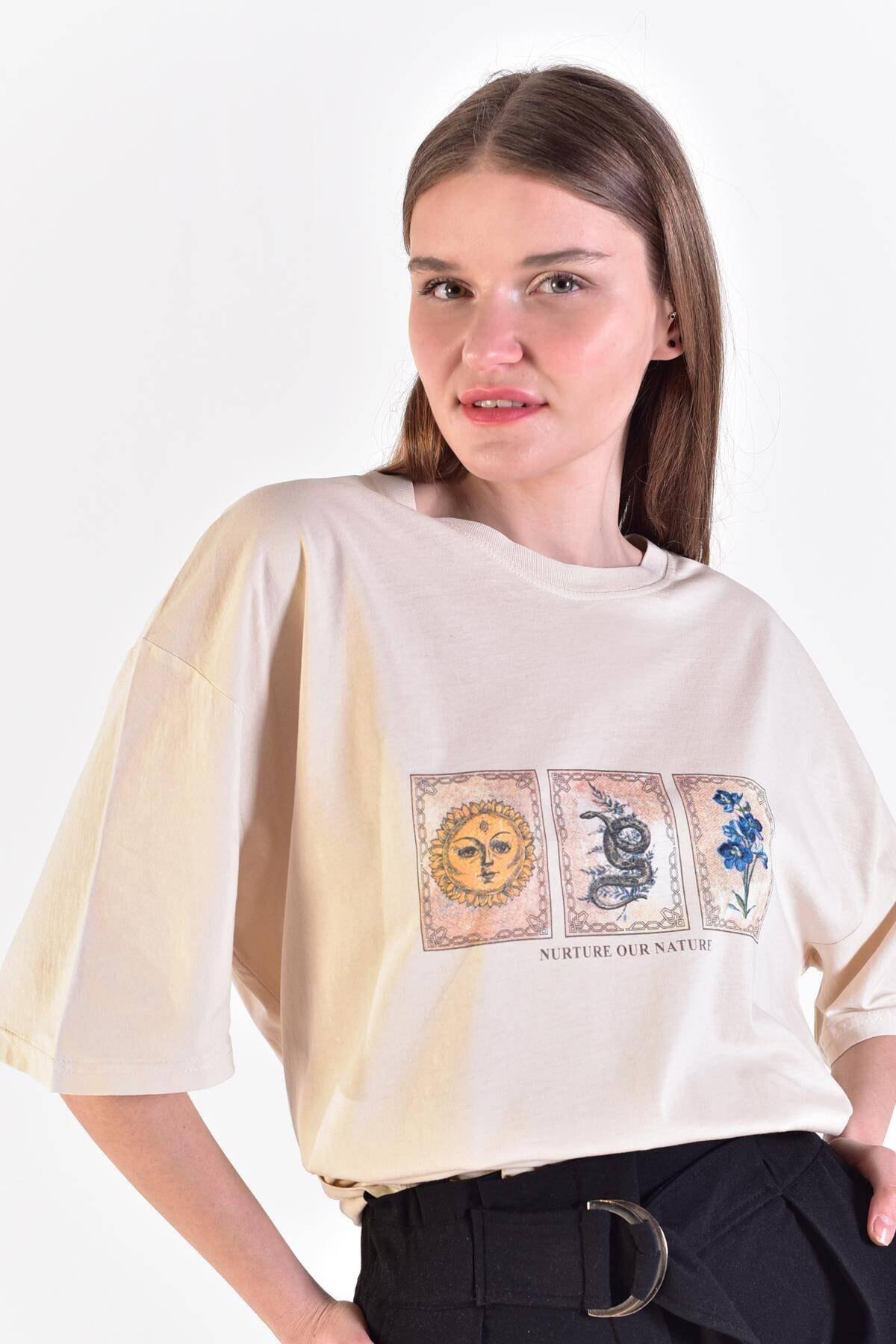 Addax Kadın Taş Önü Baskılı T-Shirt ADX-0000021582 1