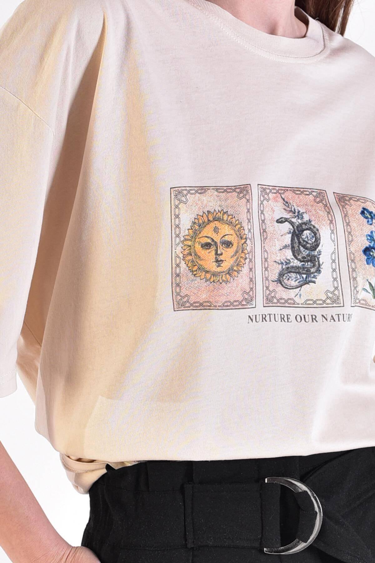 Addax Kadın Taş Önü Baskılı T-Shirt ADX-0000021582 3
