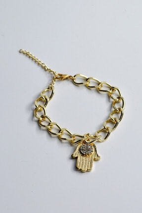 Loviyan Fatma Ana Eli Taşlı Zincir Bileklik – Gold 0
