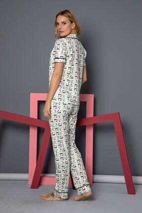Siyah İnci Kısa Kollu Pamuklu Likralı Düğmeli Biyeli Pijama Takım 2