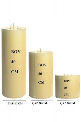 Royal Mum Büyük Silindir Mum Set - Çap 20 Boylar 20-30-40 Cm 1
