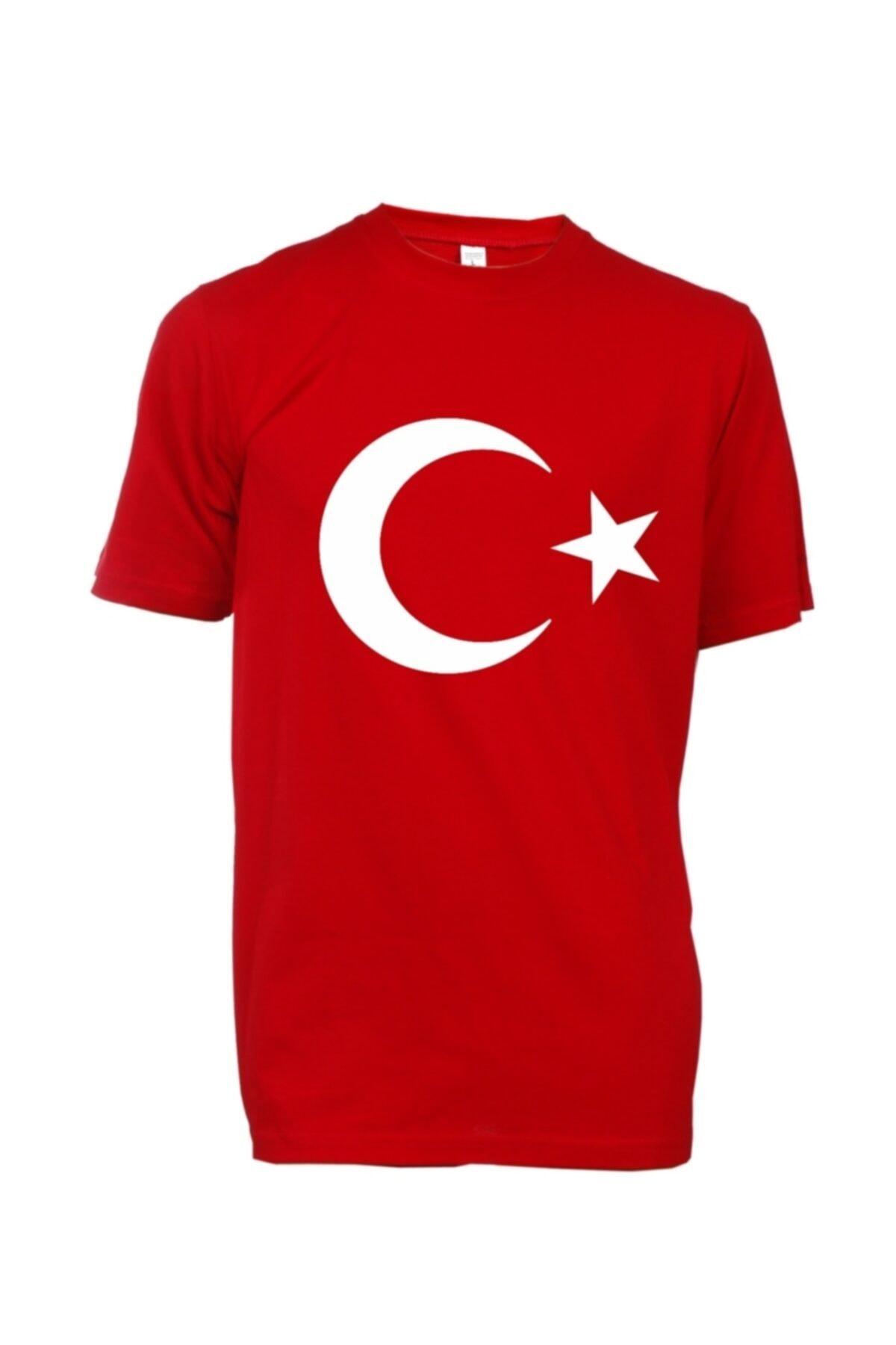 Ay Yıldızlı Türk Bayraklı Unisex Kırmızı  T-shirt