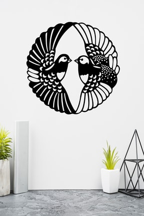 PAYİDARTS Modern Iki Güvercin Lazer Kesim Metal Duvar Tablo 70x70 cm 1