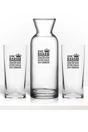 hediye-ci Babaya Özel Baba Için Özel Renkli Baskılı Ikili Rakı Bardağı Karaf Kadeh Set 0