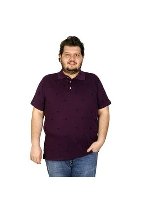 Picture of Battal Beden Erkek Tshirt Polo Yaka Palm Teers 20409 Mürdüm