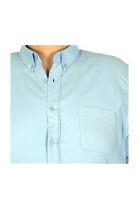ModeXL Buyuk Beden Erkek Gömlek Kısa Kol Cep Classic 19380 Mavi 3