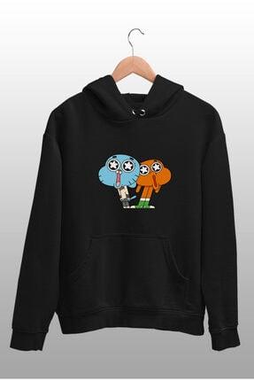 Angemiel Wear Hayran Kalmış Darwin Ve Gumball Siyah Kadın Kapüşonlu Sweatshirt Çanta Kombin 2