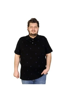 Picture of Battal Beden Erkek Tshirt Polo Yaka Palm Teers 20409 Siyah