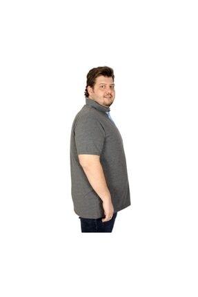 ModeXL Battal Beden Erkek Tshirt Polo Yaka Cepli Klasik Pike 20552 Antramelanj 2