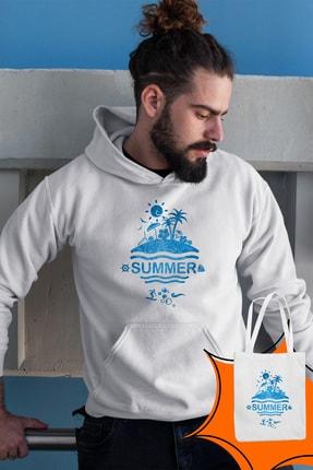 Angemiel Wear Summer Beyaz Erkek Kapüşonlu Sweatshirt Çanta Kombin 1