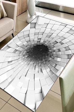 Else Halı 133X180 Else Hali Siyah Beyaz 3D Modern Dekoratif 3D Salon Halilari 0