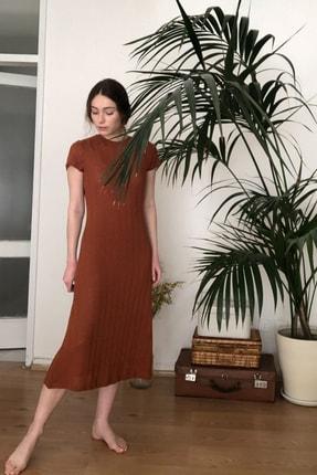 TRENDYOLMİLLA Kiremit Dokulu Midi Örme Elbise TWOSS20EL2993 1