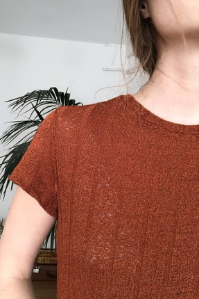 TRENDYOLMİLLA Kiremit Dokulu Midi Örme Elbise TWOSS20EL2993 3