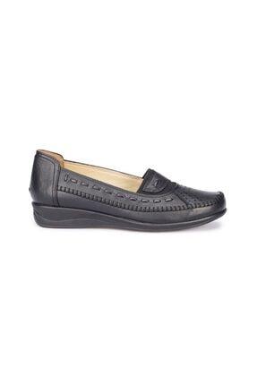 Polaris Siyah Renk 5 Nokta Ortopedik Taban Kadın Loafer Babet Ayakkabı 1