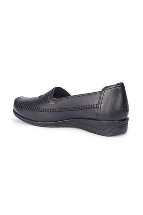 Polaris Siyah Renk 5 Nokta Ortopedik Taban Kadın Loafer Babet Ayakkabı 2