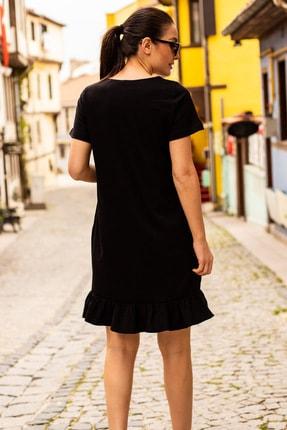 armonika Kadın Siyah Kısa Kollu Altı Fırfırlı Elbise ARM-20Y001032 2