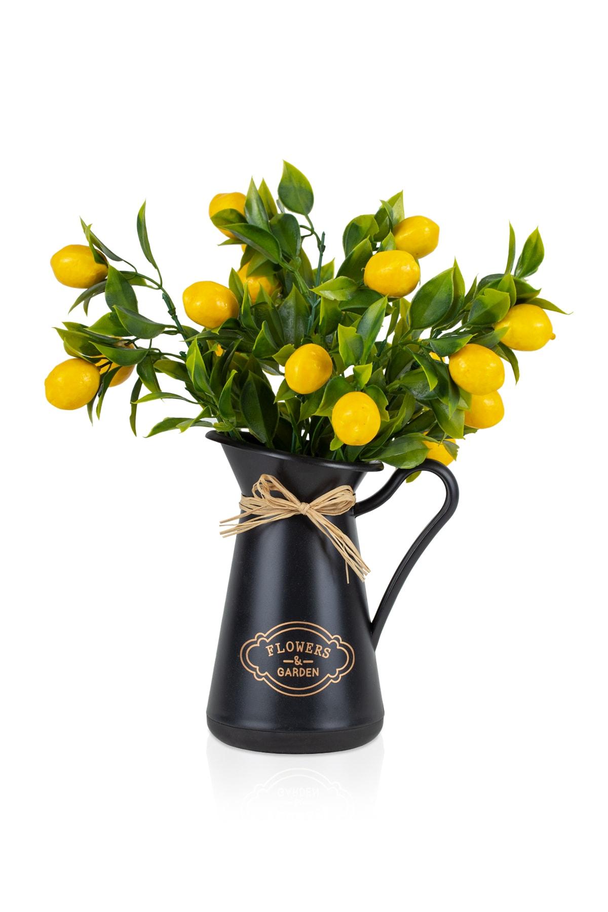 Italyan Style Flowers Garden Saksıda Limon Demet Yapay Bitki