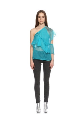 Ltd Jeans Tek Kollu Mavi Bluz 1