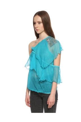 Ltd Jeans Tek Kollu Mavi Bluz 3