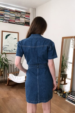 TRENDYOLMİLLA Mavi Kemerli Mini Denim Elbise TWOSS20EL2355 4