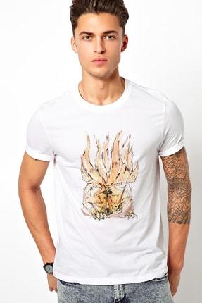 Collage Anime Naruto Itachi Baskılı Beyaz Erkek Örme Tshirt T-shirt Tişört T Shirt 0