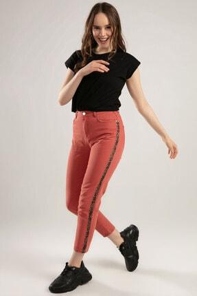 Y-London Kadın Gül Kurusu Leopar Şerit Detaylı Kot Pantolon 10144 Y19W109-10144 1