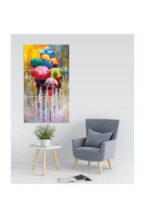 Pi Dekorasyon Renkli Şemsiyeler 3 Parça Mdf Tablo 0