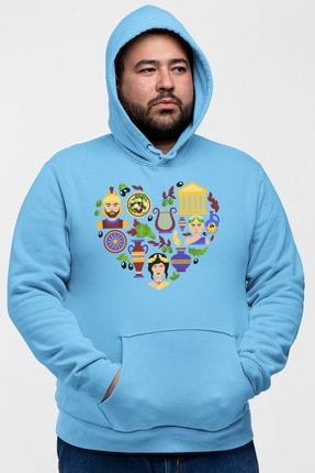 Angemiel Wear Kalp Içindeki Simgeler Mavi Erkek Kapüşonlu Sweatshirt 0