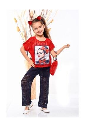 Kız Çocuk Kırmızı Triko Bluz Triko Pantolon Çanta Üçlü Takım G200