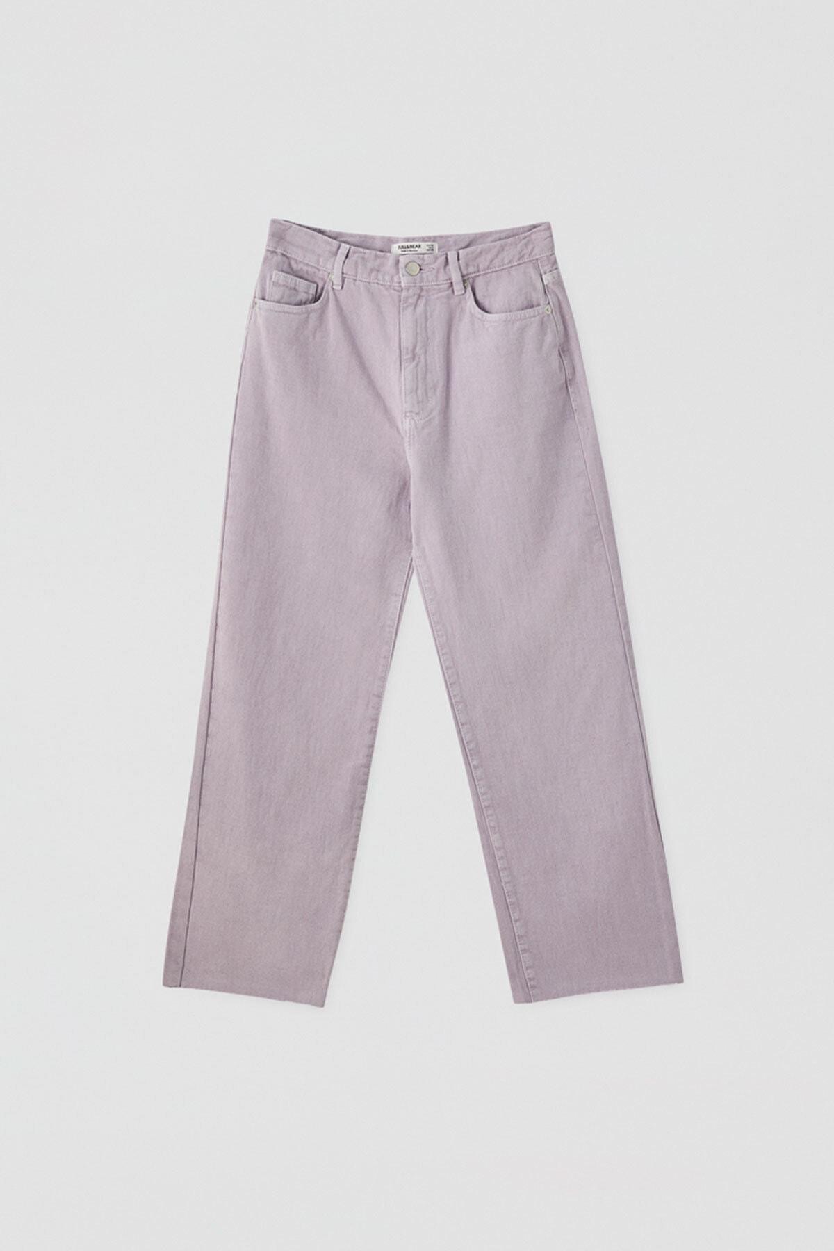 Pull & Bear Kadın Leylak Crop Straight Fit Jean 05670330 0