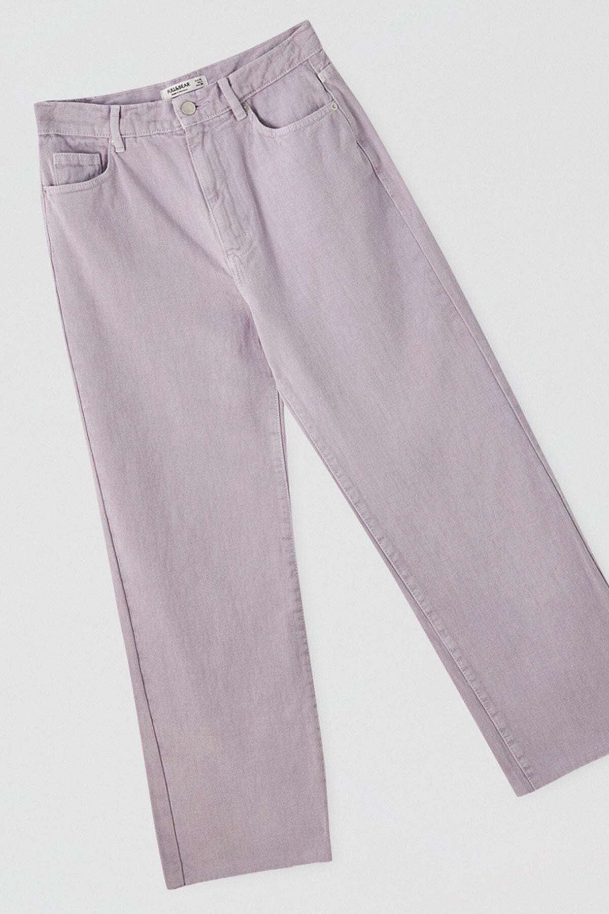 Pull & Bear Kadın Leylak Crop Straight Fit Jean 05670330 1