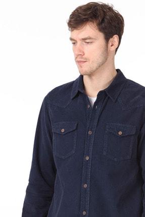 Ramsey Erkek Lacivert Düz Dokuma Uzun Kollu Gömlek RP10119590 1