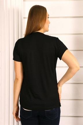 SİZ Yakası Nakışlı Siyah Bluz 3