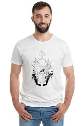 Collage Erkek Örme Tshirt Anime Naruto Baskılı Beyaz 0