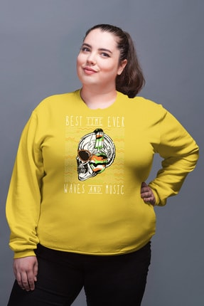 Angemiel Wear Best Time Ever Sarı Kadın Sweatshirt 0