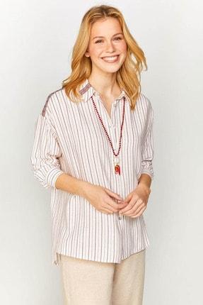 Kadın Ekru Çizgili Şerit Detaylı Gömlek 60377 U60377 resmi