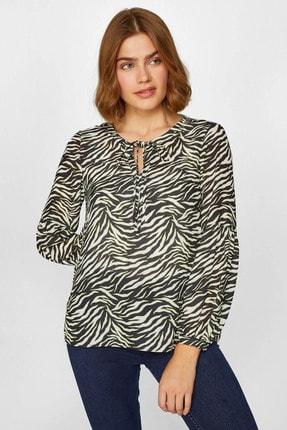 Kadın Beyaz Zebra Desenli Bluz 60147 U60147 resmi
